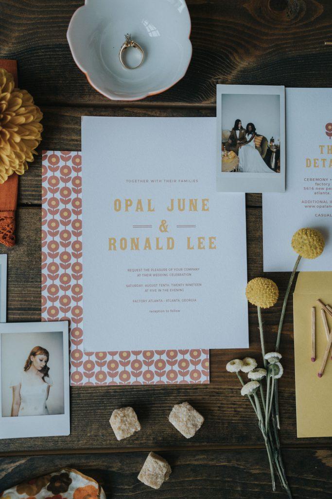 70s inspired wedding invitation