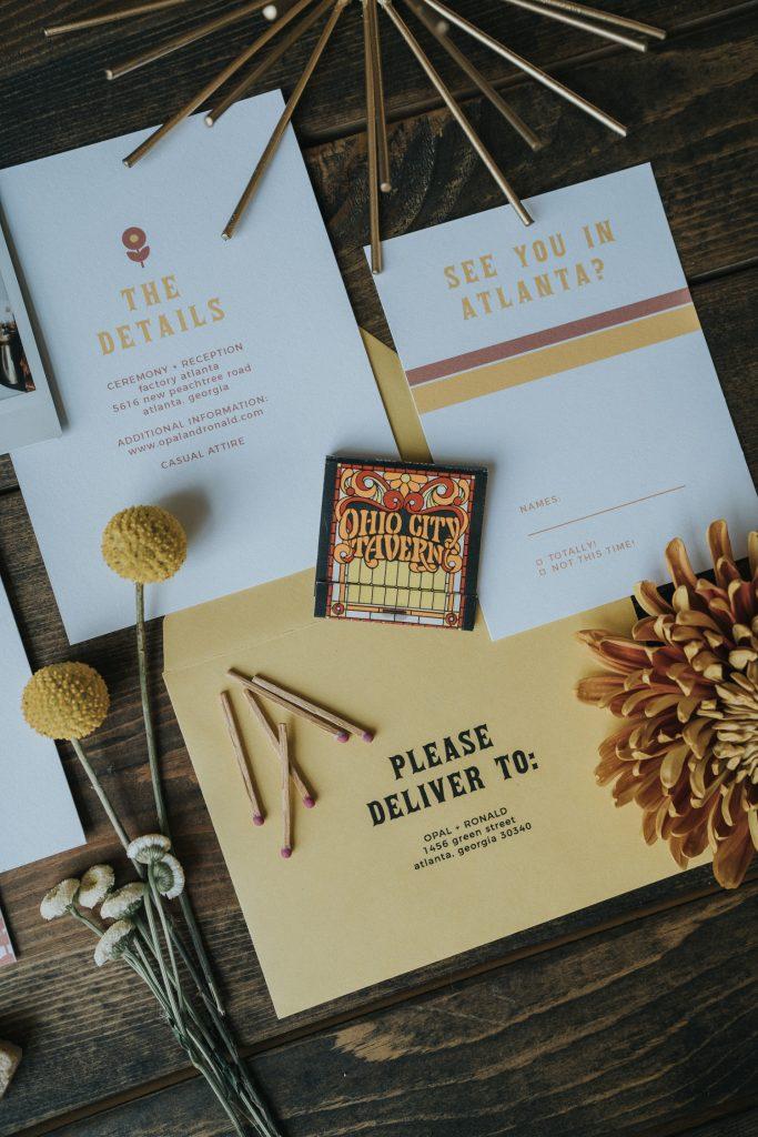 retro wedding invite