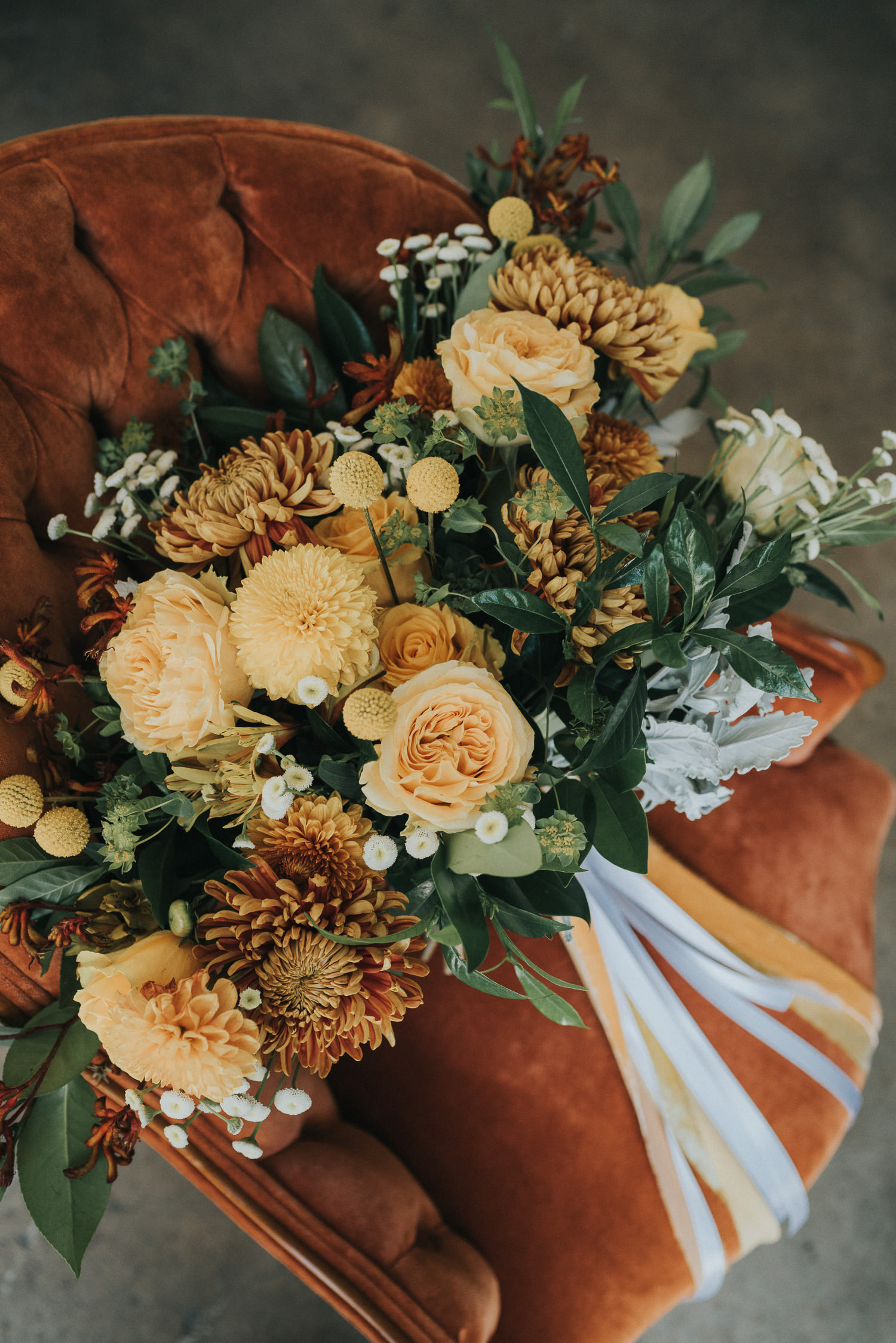 Orange, Rust and Yellow Bridal Bouquet with Velvet Detail